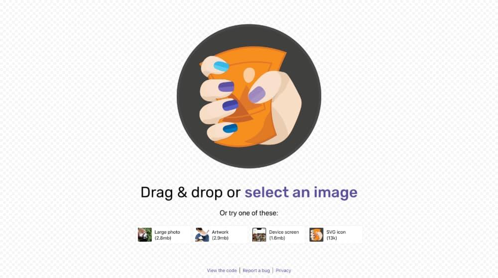 Pagina de inicio de squoosh.app by Google. Captura realizada por OliverCG.