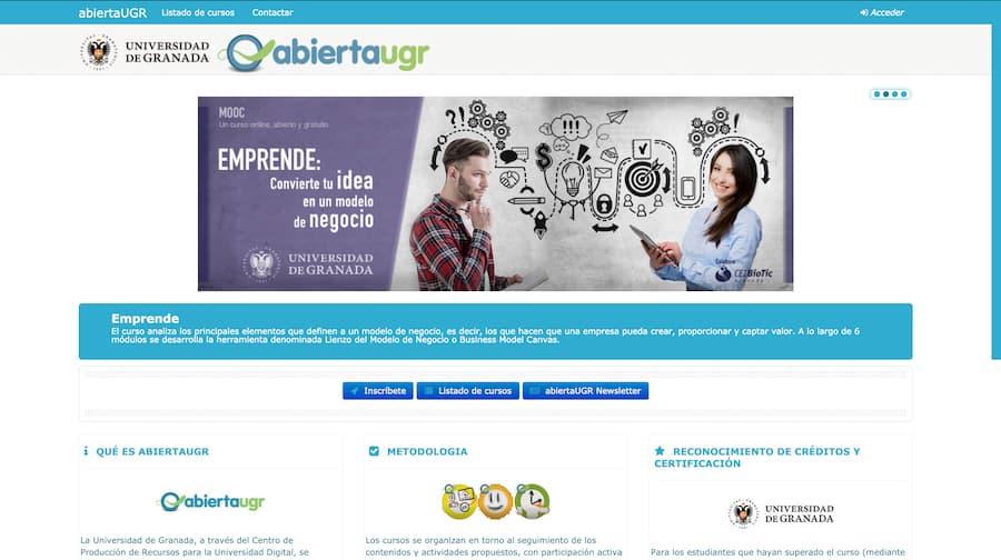 Pagina de inicio de la plataforma de MOOCs abierta UGR